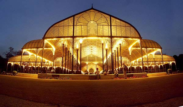 The Lalbagh Glasshouse at night