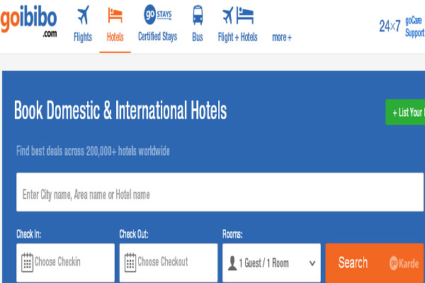 Goibibo Hotel Booking Website in India