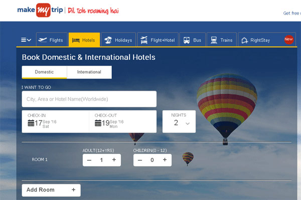 MakeMyTrip Hotel Booking Websites in India