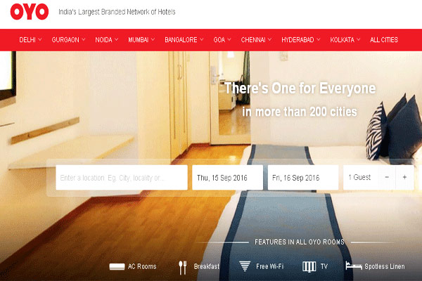 OYO Rooms Hotel Booking Websites in India