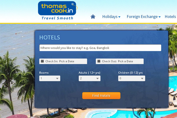 Thomascook Hotel Booking Website in India